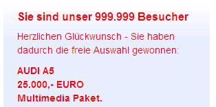 Willkommen im Internet - Sie sind der 999999. Besucher.