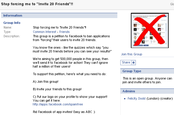 "Facebook-Gruppe Stop forcing me to ""Invite 20 Friends""!!"